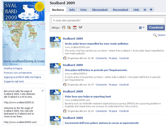 Svalbard 2009 on Facebook